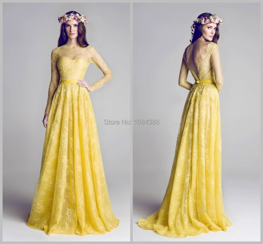 Yellow Prom Dress With Sleeves Free Shipping New Arri...