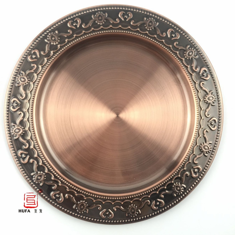 HUFA 30cm elegant stainless steel bronze round dish plate/12-inch exquisite bronze serving tray/delicate big fruit plate(China (Mainland))