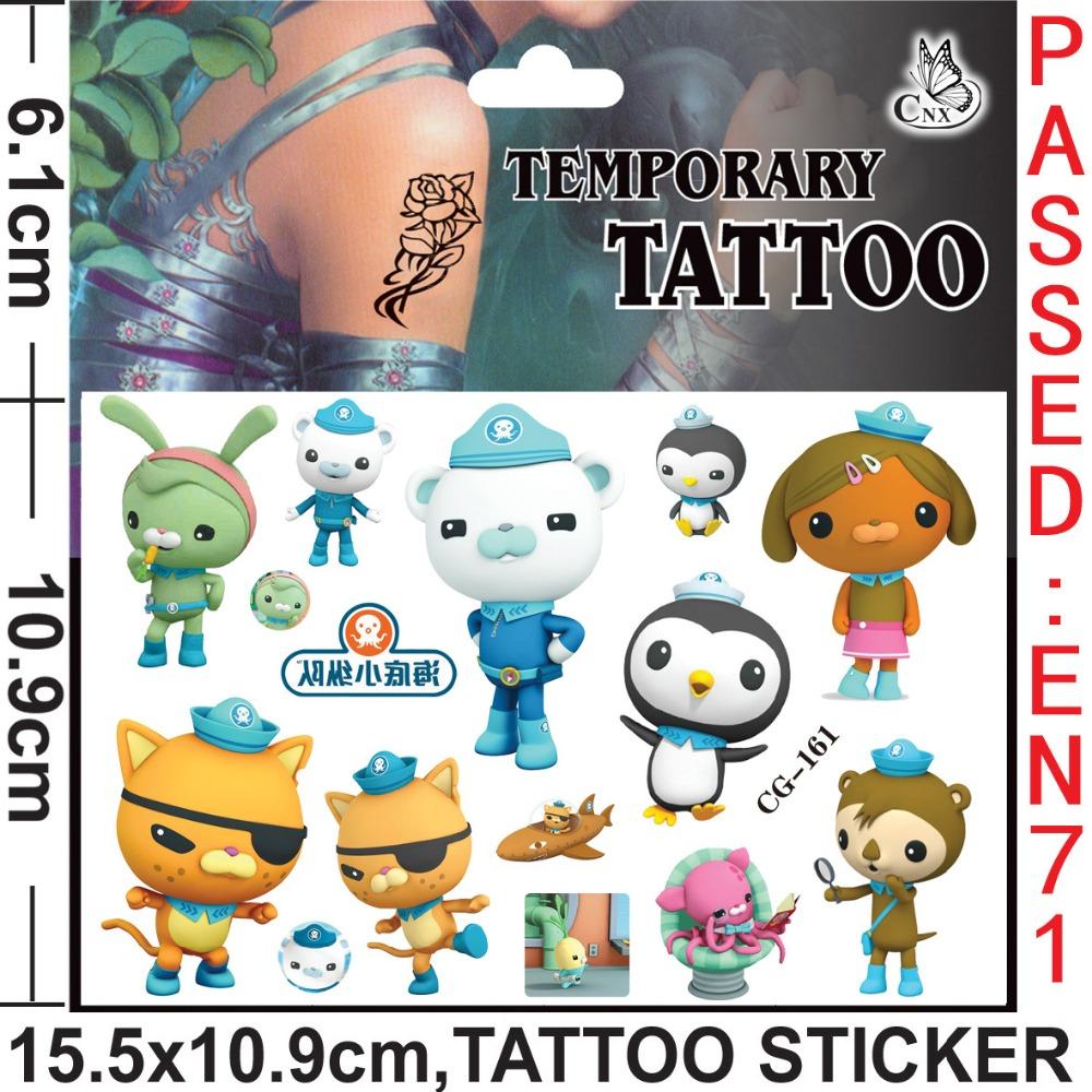 5pcs/lot Octonauts Designs Water Transfer Health 3D Tattoo Child Penguin Pattern Cartoon Disposable Tattoo Stickers Supply(China (Mainland))