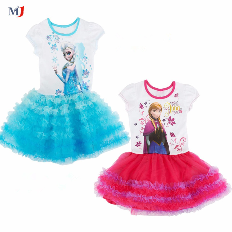 Girls floral dress cartoon ice princess girls dress fake two-piece children's clothes kids free shipping(China (Mainland))