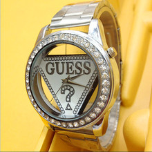 Mujer de marca de lujo caliente ginebra Ladies relojes de pulsera regalos para la muchacha completa Rhinestone del acero inoxidable reloj de cuarzo EGW005
