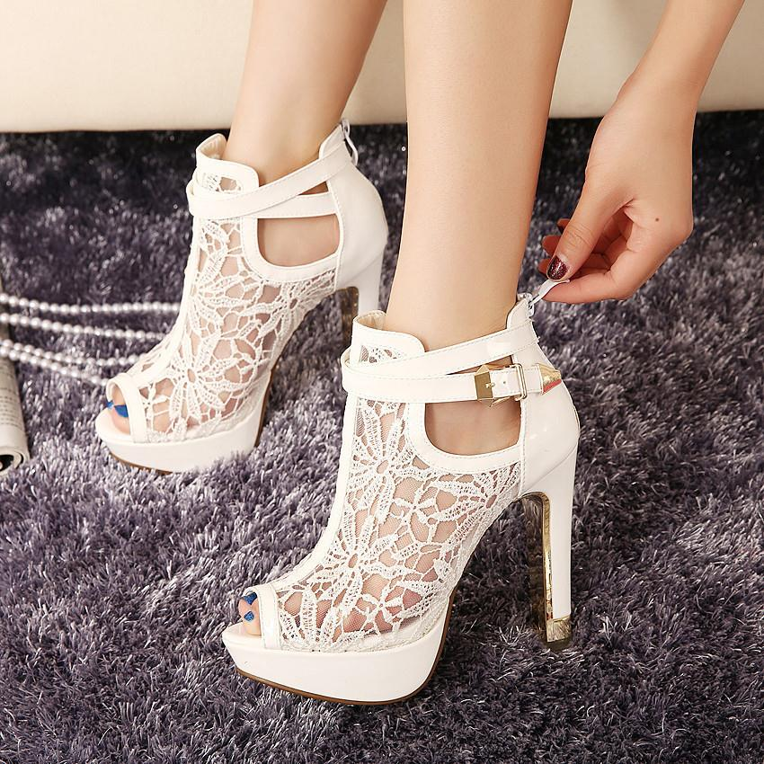 New Brand Women Pumps Platform High Heel Sandals Fashion Classic Zip Lace Girl Evening Party Nightclub Shoes Lady Single Shoes<br><br>Aliexpress