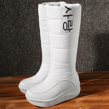 2016new señora de la llegada zapatos de las cuñas de las mujeres de invierno botas de moda de invierno caliente de la felpa botas de nieve hasta la rodilla botas altas zapatos calientes de estilo mujer(China (Mainland))