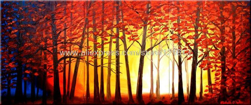 The Forest Warmth Oil Painting On Canvas Discount S Manufacturers 3 Panel 3 Pcs /Set Free Shipping Art Wall Art(China (Mainland))