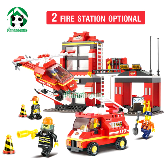 Fire Station Building Blocks Compatible with lego City truck Helicopter learning Education Toys Models & Building Toy(China (Mainland))
