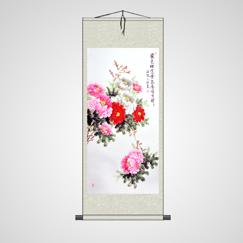 Chinese traditional peony flowers painting 100% handpainted craft home decoration scroll paintings fengshui picture drawing(China (Mainland))