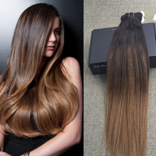 Full Shine 10pcs Clip in Human Hair Extensions Ombre Balayage Color #2#6 Remy Virgin Hair Natural Hair Clip Extensions Sexy