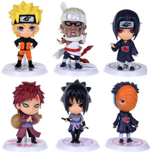 6Pcs/lots Naruto Anime Cartoon Q Version PVC Model Toys Action Figure Classic Toys For Kids Collectible Toy Doll decoration