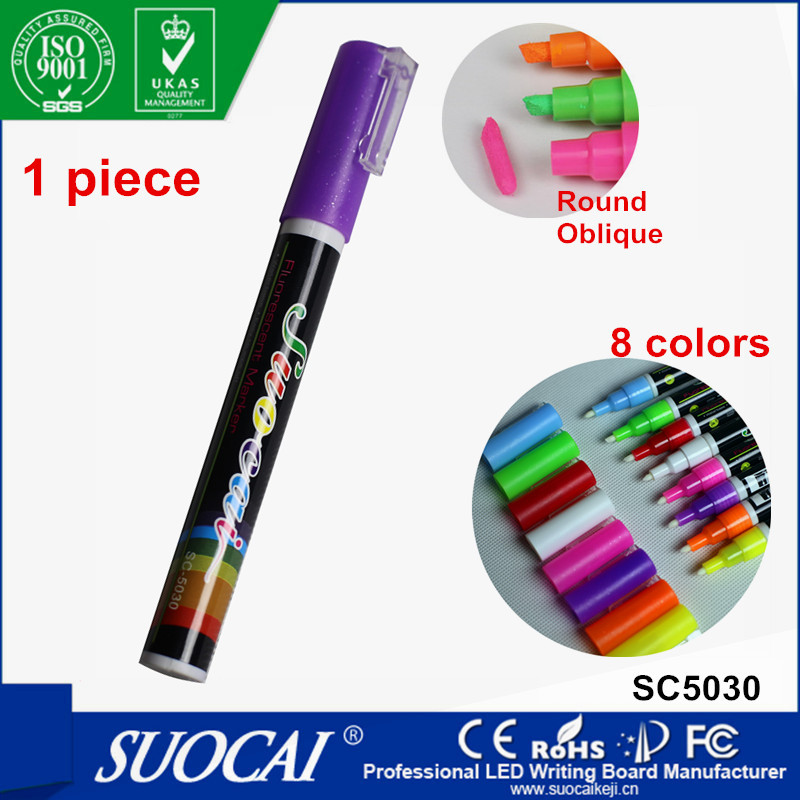 1 pc/box Highlighter Liquid Chalk Marker Pens for School Art Painting 8 Colors Round&Chisel Tip 3mm(China (Mainland))