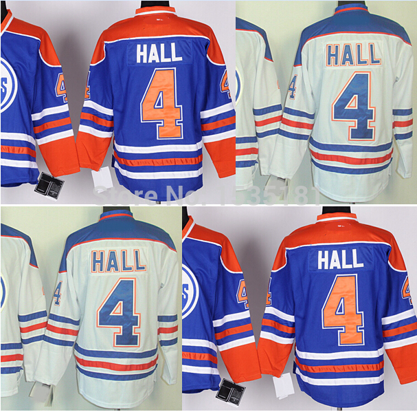 Hot Sale! Ice Hockey Jerseys Men's Taylor Hall Jersey #4 Home Blue Road White Hockey Uniform Stitched Logos Embroidery Jerseys(China (Mainland))