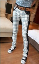 Plaid personality color block decoration male jeans trousers new arrival 2012(China (Mainland))