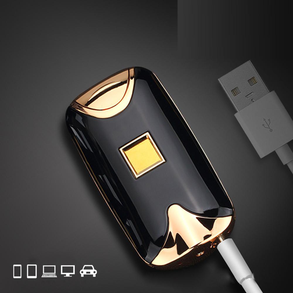 ถูก แฟชั่นLighterสำหรับของขวัญUSBไฟฟ้าคู่ArcโลหะFlamelessลายนิ้วมือแบบชาร์จลมเบา