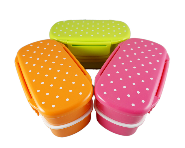 polka dot pattern 2 tier japanese bento lunch box with fork and spoon bpa free microwave safe. Black Bedroom Furniture Sets. Home Design Ideas