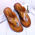2017 Summer Men Slippers Slip on Flip Flops PU Leather Male Slippers Men Shoes Hot Sale