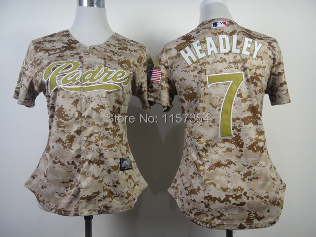Hot Promotion San Diego Padres Womens Jerseys #7 Chase Headley Camo Baseball Jersey,Embroidery Logo,Accept Mix Orders,Size:S-XXL(China (Mainland))