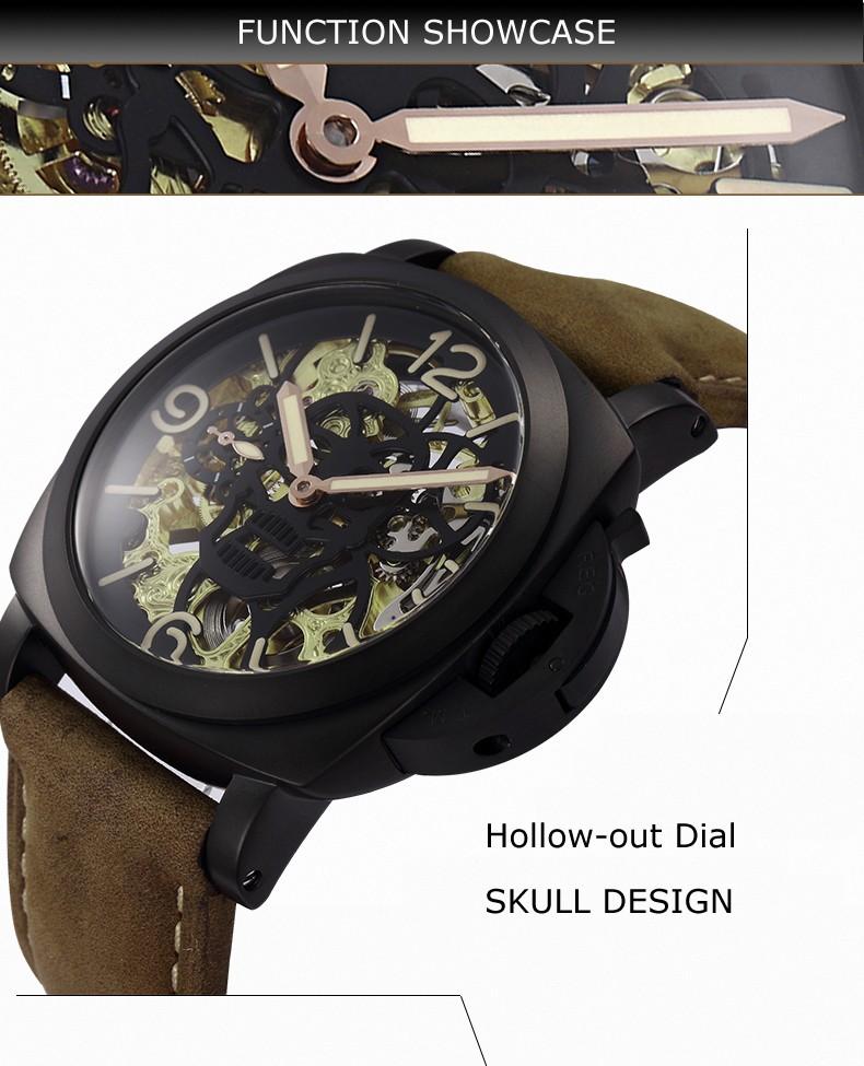 Parnis ЧЕРЕП Seriers Светящиеся Мужские Кожаный Ремешок Моды Механические Часы Наручные Часы