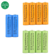 Mix colors 10pcs AA 3000mAh Rechargeable Battery AA NI-MH 1.2V Rechargeable 2A power Baterias for camera toys