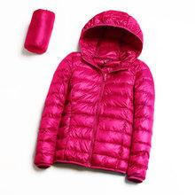 Для женщин пуховик пальто 100% бархатные теплые ультра легкая куртка с капюшоном с длинным рукавом Тонкий Parka женский сплошной легкая одежда(China)