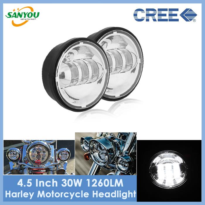 2015 New Arrival 2Pcs 4.5 Inch Led Motorcycle Headlights 30W Moto Led Headlamp 1260lm/pc Motor Fog Lights for Harley(China (Mainland))