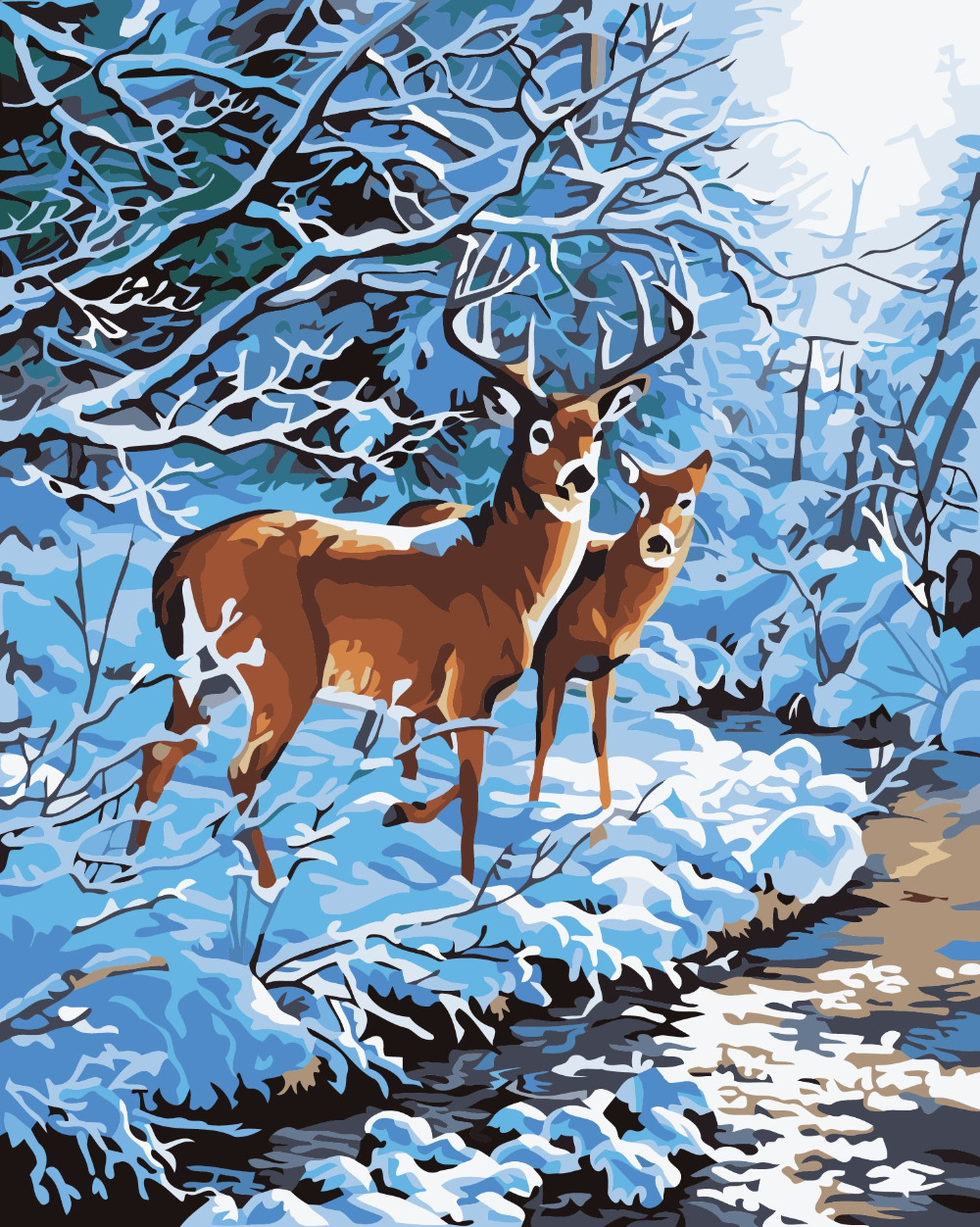 New DIY Oil Painting By Numbers Animals Dog Hand Painted Canvas Oil Paintings Sika Deer Tiger Frameless Art Painting Home Decor(China (Mainland))