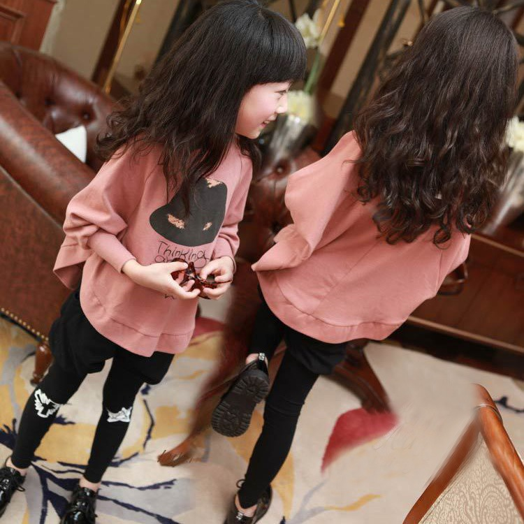 2PCS/Set Children Spring Girls Kids Cotton Bat Long Sleeve Suit Black Pants 2-7 Years Old Gray Red Asian/Tag Size 110-160 - fashion*store store