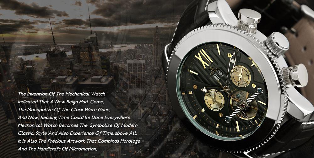 Orkina Мода Мужская Человек Серебро Черный Белый Месяц Дата День Автоматические Механические Часы Подарочная Коробка Свободный Корабль