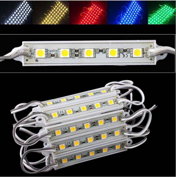 SMD 5050 5 LED Module Cool White/Warm White/Natural White/Red/Green/Blue/Yellow Waterproof IP65 DC12V+Free Ship(China (Mainland))