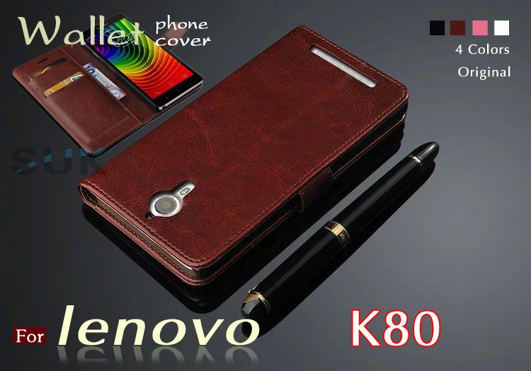 High quality flip leather case for lenovo k80 New original wallets mobile phone cover for Lenovo k 80 k80m case Free gift(China (Mainland))