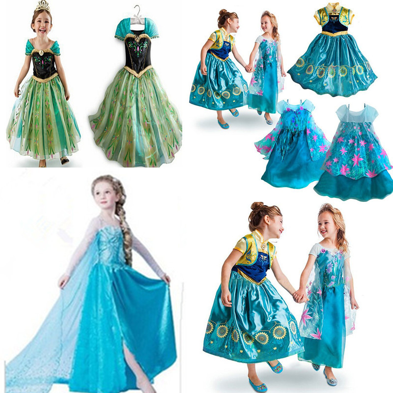 New Cinderella Dress Snow queen Elsa Dress girls clothing,Princess Sofia Anna Elsa Costume,Halloween Party Children Clothes(China (Mainland))