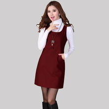 2016 New Elegant Ladies Autumn Winter Woolen Dress Casual Pocket Sleeveless Tank Vest Dresses For Women's Vestidos S-3XL K3342(China (Mainland))
