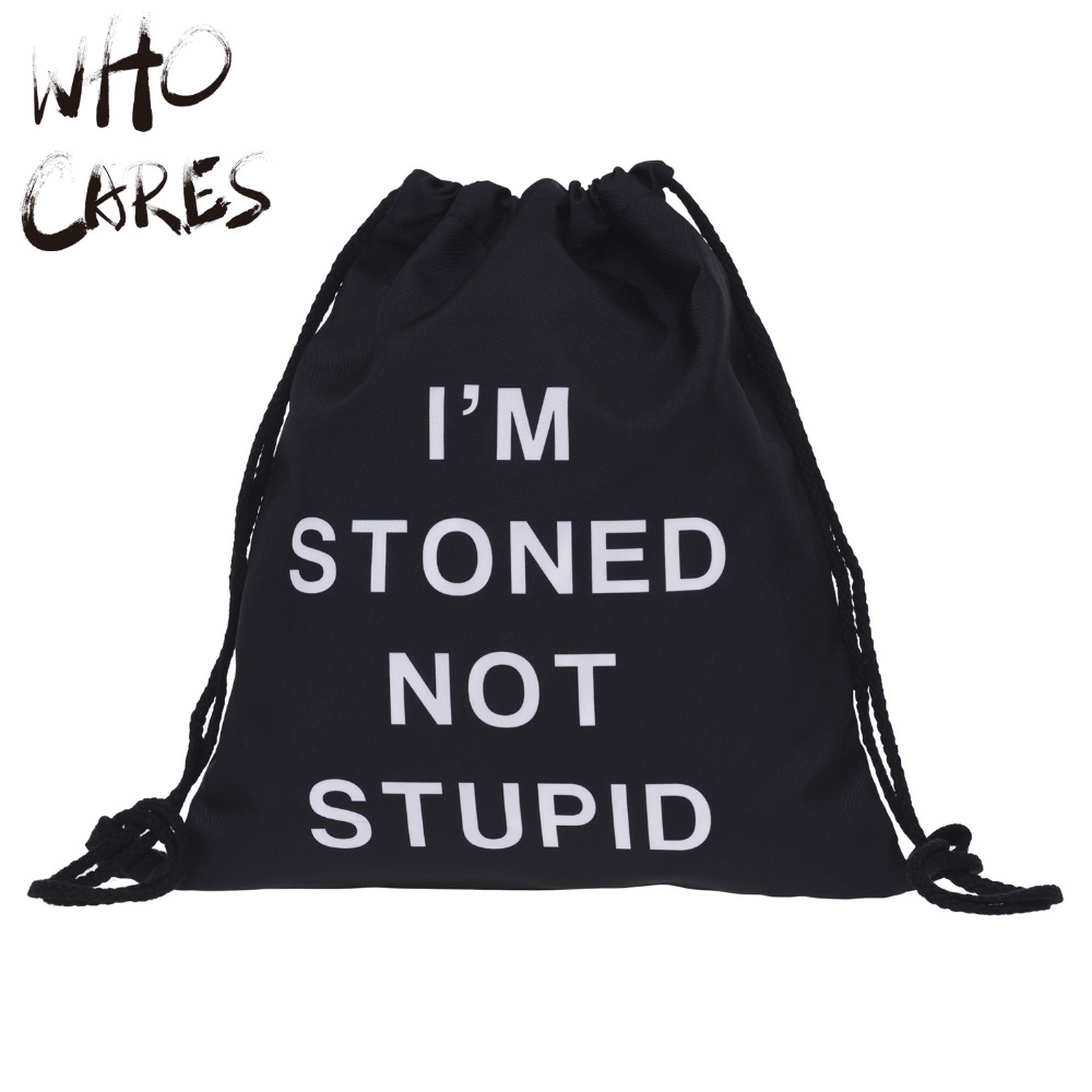 Who Cares Stoned Not Stupid Printing Gym font b Bags b font Travel drawstring font b