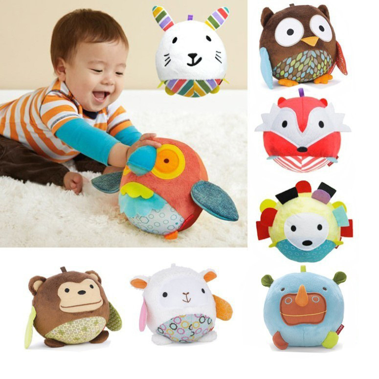 Free Shipping Baby Cute Animal Ball shaped Stuffed Soft Toys Doll Rattles New Year's Gift for Kids(China (Mainland))