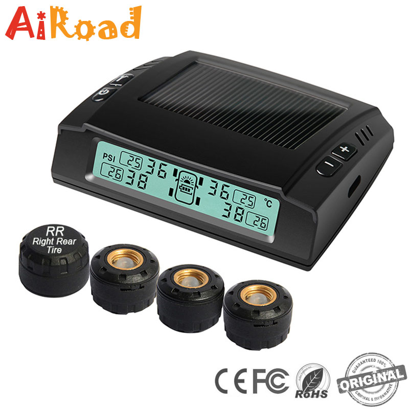 Freescale TPMS Wireless Solar Car Tire Pressure Temperature Monitor with Rechargeable Solar Battery Tire Valve Waterproof IPV 7
