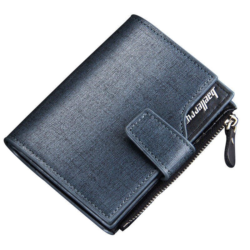 Baellerry Brand wallet men top quality multifunction men's wallet purse short noble gold classic blue color leather wallets(China (Mainland))