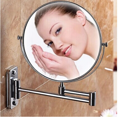 2015 Hot Sale Bathroom chrome Wall Mounted 8 inch Brass 3X/1X Magnifying Mirror Folding Makeup Mirror Cosmetic Mirror Lady Gift