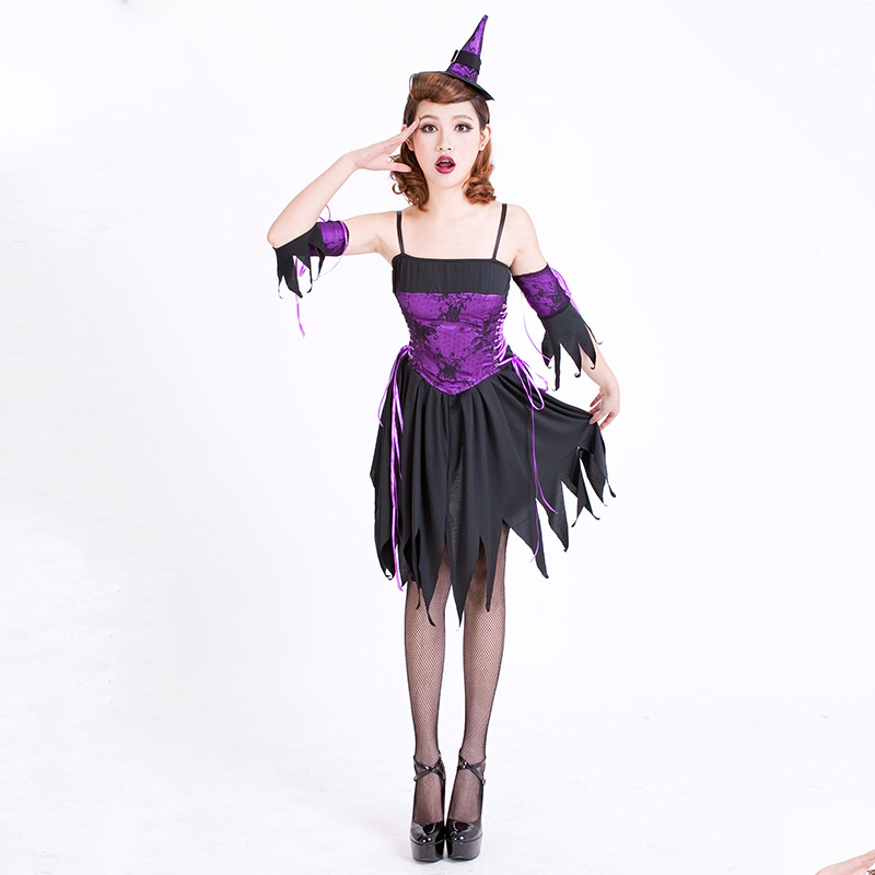 women Halloween costume dress sexy devil purple witch adult female nightclub performance bar party cosplays clothing for lady(China (Mainland))