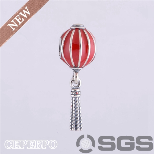 Authentic 925 Silver Chinese Lantern with Red Enamel Beads and Charms Fit European Bracelet Necklaces & Pendants, LW335(China (Mainland))
