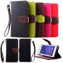 Coque E4 Flip Cartoon Leaf PU Leather Stand Funda Case Sony Xperia C3 C5 Cover Para - Idealink Co.,Ltd store