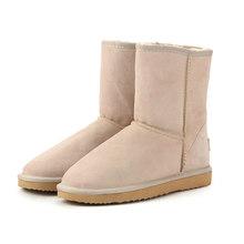 HABUCKN cuir véritable daim hiver bottes de neige pour les femmes réel mouton fourrure laine doublé chaussures d'hiver de haute qualité brun noir(China)