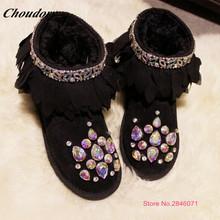Las mujeres de Moda Rhinestones Coloridos Zapatos Casuales de Invierno Celebrity Zapatos Calientes de la Felpa Hecho A Mano Cómodo Nieve Botas zapatos mujer(China (Mainland))