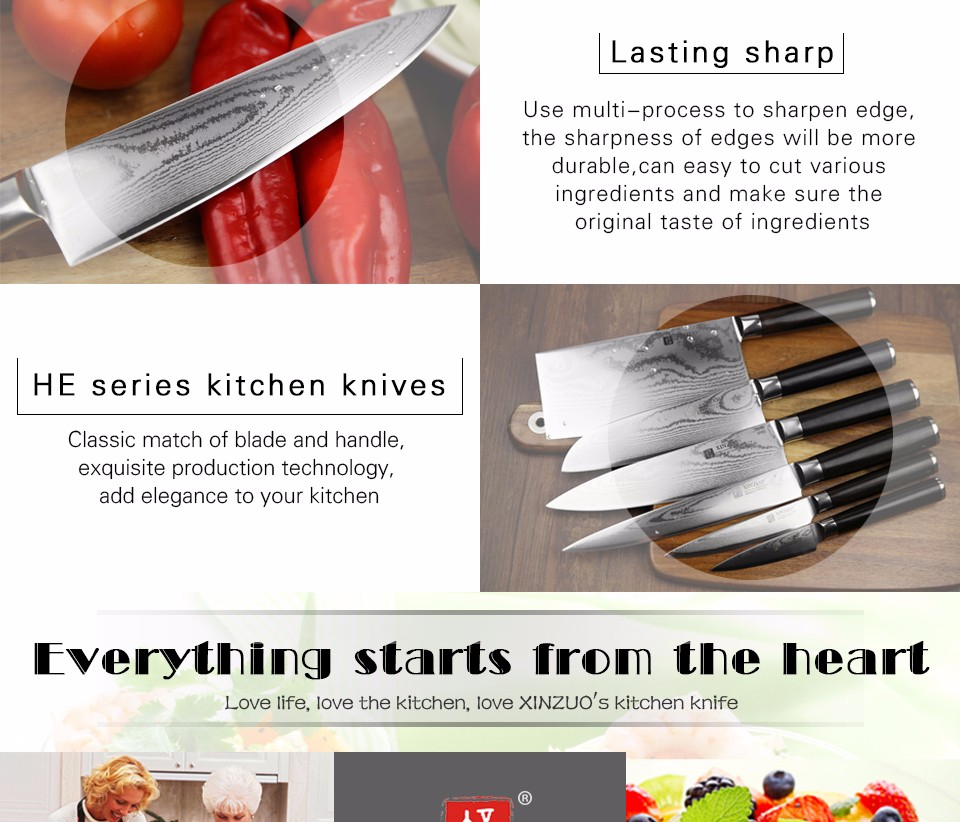 """Buy XINZUO 8 """" inch chef knife  67 layers Japanese VG10 Damascus kitchen knife melon/vegetable knife ebony wood handle free shipping cheap"""