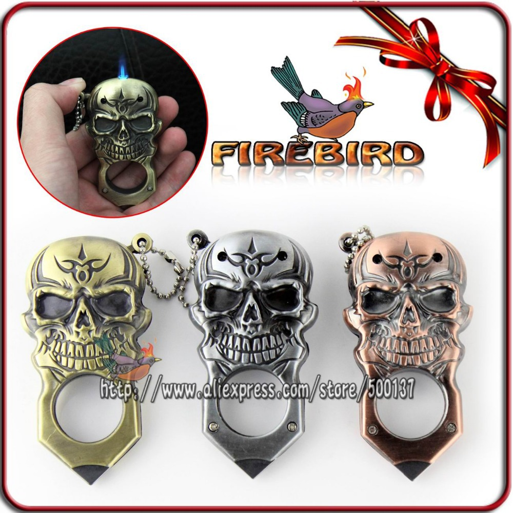Firebird 3 Colors!! Cool Skull Style Pocket Metal Cigar Cigarette Butane Gas Jet Flame Lighter(China (Mainland))