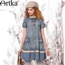 Artka Woman'S Summer Vintage Embroidered Expansion Bottom Peter Pan Collar Short-Sleeve Knee-Length Dress SN19631X(China (Mainland))