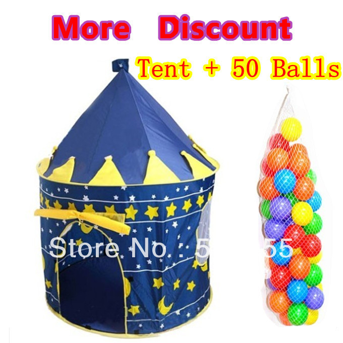 Promotion Prince Blue Child Tent + 50 Ocean Balls Kids Game House Wave Balls Indoor And Outdoor Play Tent ZP5012(China (Mainland))