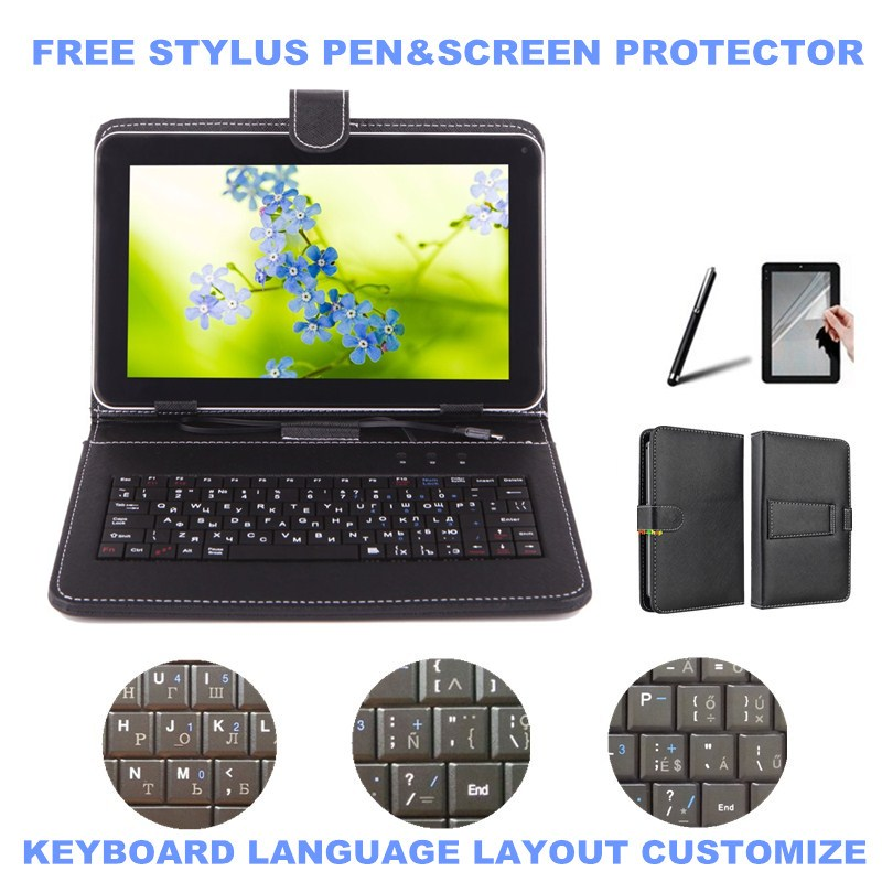 3-IN-1 Stylus+Film+Keyboard for Alcatel One Touch Pop 10 10 inch Tablet Micro USB Keyboard PU Leather Case Cover(China (Mainland))