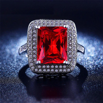 White gold filled Ruby jewelry Red big square CZ diamond Engagement Wedding Bague Bijoux Luxury Accessories anillos