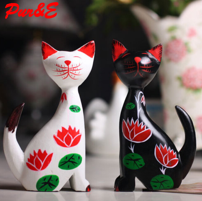 Hand Carved cat animal ornaments home accessories african figurines decoration HDC1210 - Pur&E crafts Co., Ltd. store