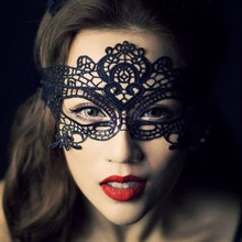 1pc Sexy black lace hollow mask goggles nightclub fashion queen female sex lingerie Cutout Eye Masks for Masquerade Party Mask