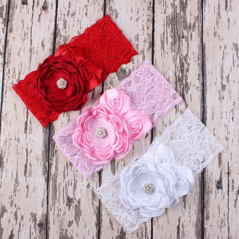 Baby Lace Flower Headband for Girl Hair Accessories Fashion Flower with Rhinestone Headband Newborn Lace Headband 6PCS/lot(China (Mainland))