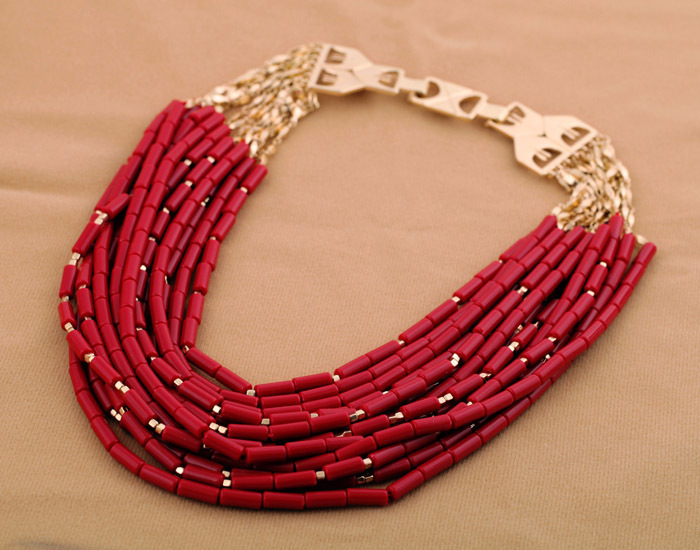 Free Shipping 2013 Fashion Necklace Gorgeous 14 Layers Dark Red Acrylic Necklace Statement Necklace Min $20(can mix)(China (Mainland))